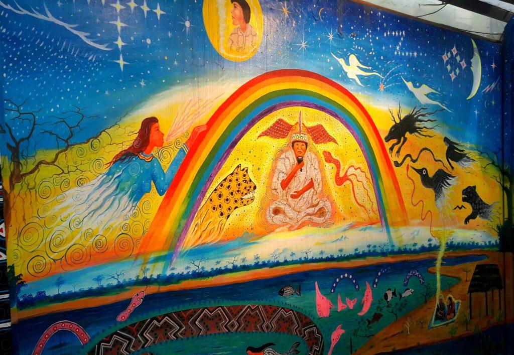 Cómo me animé a viajar en el tren Lima a Huancayo: mural en la estación Desamparados
