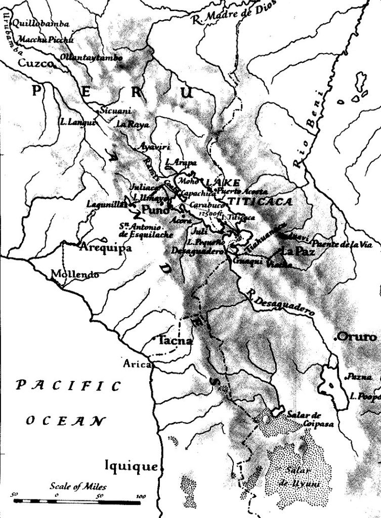 Mapa de la expedición al lago Titicaca en el año 1937
